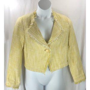 CAbi jacket blazer tweed crop fringe #339 5331